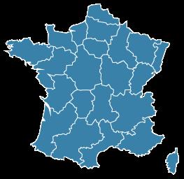 carte de France découpée par régions